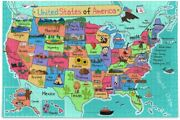 9ch Usa Map Puzzle For Adults - 500 Pieces Cartoon Us Maps Wooden Us