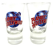 Planet Hollywood Cannes Shot Glass Shooter Rare And Collector X 2 Pair