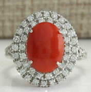 Igi Certified 3.99ct Natural Red Coral Solid 18k White Gold Diamond Ring