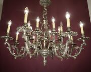 Large Silver Nickel Chandelier Ceiling Lamp Light Home Decor Old Foyer