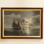 Original Oil On Canvas Painting Of Sail Boats Under Moon Signed Vilhelm Bille