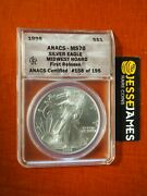 1998 1 American Silver Eagle Anacs Ms70 First Release Midwest Hoard Pedigree