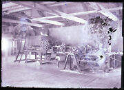 Late 1800s Glass Negative, Unknown Machinery, Poor Emulsion Right, Maine