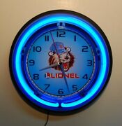 Lionel Trains Lenny The Lion Logo Neon Wall Clock