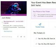 Sold Out 2 Justin Beiber Tickets Milwaukee Wi Sec 102 6/24/2022