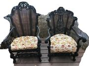 2 Fireside Antique Carved Mahogany Chairs French Renaissance Throne Chair Louis