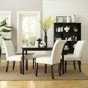 5-piece Espresso Patio Wooden Table Dining Set Hardwood Pu Leather Parson Chairs