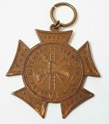 Antique 1898 Firemen's Convention Houghton, Michigan Medal Badge Firefighting