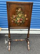 Rare Antique Firescreen Desk With Hand Painted Flowers Writing Table Fire Screen