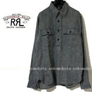 Rrl Linen Popover Work Shirt With Chin Strap Size S Gray Navy Used