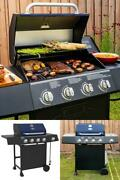 619 Sq. In. Propane Cast Iron Gas Grill With 4 Burners And Side Burner Blue