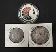 3 Rare Silver Coins 1931 A Weimar Germany1869 Belgium 5 Francs Proof 10k Mint