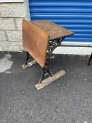 Antique Child's School Desk Wood Cast Iron With Floral Pattern End Only No Seat