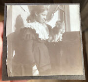 Vintage Antique Photo Sepia Victorian Girl And Adoring Sweet Cat