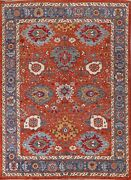 Vegetable Dye Geometric Heriz Oriental Area Rug Hand-knotted Wool Carpet 8and039x10and039