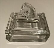 Vintage Heisey Puritan Clear Glass Cigarette Box And Horse Head Lid 4½ Inch