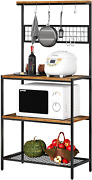 Kitchen Bakers Rack Microwave Oven Cooking Stand With Hooks Industrial Storage