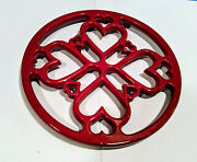 Hearts Trivet Red Enamel Cast Iron Made In France And 2 Woven Straw Rattan Trivets