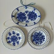 3 Pierced Blue And White Floral Platesoval And Roundfrench/cottage/farmhouse