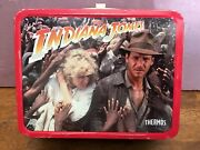 Vintage Indiana Jones And The Temple Of Doom Metal Lunch Box 1984 With Thermos