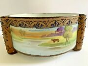 Nippon Moriage Hand Painted Footed Ferner Jardiniere Bowl Wbull Field Lake Scene