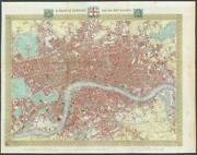 1840 Antique Map 'a Plan Of London And Its Environs By Creighton And Walker
