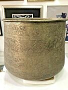 Rare Old Magnificent Antique Hand Engraved Copper Islamic Bowl Tinned Mamluk
