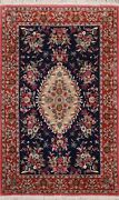Navy Blue Floral Kirman Hand-knotted Area Rug Classic Oriental Foyer Carpet 4x6