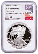 2005 W Proof American Silver Eagle Ngc Pf70 Uc Mercanti Signed Label