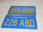 Vintage 1970and039s Blue/yellow California Automobile License Plates Set Of Two