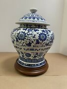 Vtg Bombay Company Blue And White Porcelain Decorative Ginger Jar W/lid 12andrdquo Tall