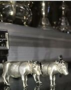 Antique 19th C Chinese Sterling Solid Silver Pair Farm Cow Cows Figures Statues