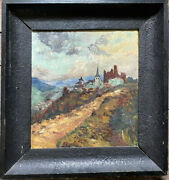 Oil Painting Castle Ruins Tower On One Hill °kronenburg In Eifel Antique Old