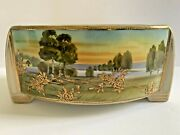 Antique Nippon Hand Painted Footed Ferner Bowl Raised Gold Roses