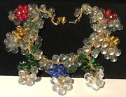 Miriam Haskell Necklace Rare Vintage Signed All Glass Drippy Dangle Statement Pc