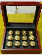 Set Of 12 Old School World Series Baseball Rings. 20and039s-50and039s W Wooden Display Box