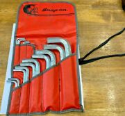 Snap-on Tools 20 Piece Sae Hex Allen Wrench Set With Vintage Red Pouch C-84 B