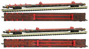 Micro-trains Mtl N-scale 89ft Salvage Flat Cars Quax Weathered/pedestals 2-pack