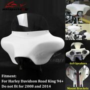 Motorcycle Batwing Stereo Fairing 6x9 Speakers And Windshield For Harley Road King