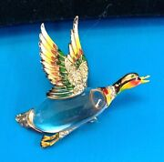 Fabulous Gold Plated 1944 Corocraft Sterling Mallard Duck Lucite Jelly Belly Cb