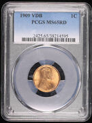 1909 Vdb Wheat Lincoln Cent Penny Coin Pcgs Ms65rd Red