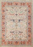Ivory Geometric Ziegler Oriental Area Rug Vegetable Dye Hand-knotted 8x10 Carpet