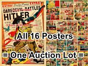 Daredevil Battles Hitler 1941 Wwii = 16 Posters Comic Book 5 Sizes 18 - 2 Feet