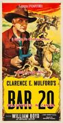 Bar 20 1940and039s William Boyd Hopalong Cassidy = Poster 3 Sizes 2x4 3x6 3.5x7 Feet