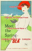 Meet The Spring - Fly Bea 50and039s Airline Airplane = Travel Poster 10sizes 17-6 Ft