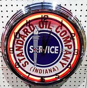17 Standard Oil Co Indiana Sign Single Neon Clock Gas Gasoline Station Lube