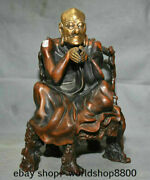 13.6 Old China Red Copper Gilt Gold Arhat Rohan Luohan Buddha Seat Chair Statue
