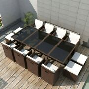 Poly Rattan Dining Table Brown Lounge Outdoor Garden Furniture Cube Rattan 13pcs