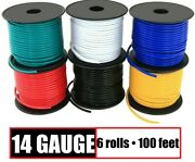 14 Gauge Primary Wire Red Black Yellow Blue White Green - 6 Rolls - 100 Feet Ea