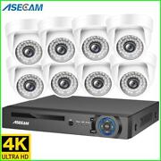 4k 8mp H.265 Poe Nvr Kit Cctv Sound Security System Indoor White Dome Microphone